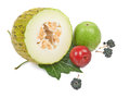 Sliced melon, green apple, plum and black Royalty Free Stock Photo