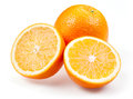 Sliced orange fruit isolated on white background Royalty Free Stock Images
