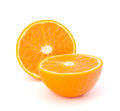 Sliced orange fruit segments isolated on white background the Stock Photos