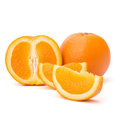 Sliced orange fruit segments isolated on white background the Royalty Free Stock Images
