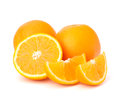 Sliced orange fruit segments isolated on white background the Stock Image