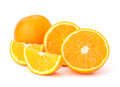 Sliced orange fruit segments isolated on white background the Royalty Free Stock Image