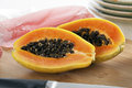 Sliced Papaya Stock Photography
