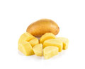 Sliced potatoes on white background Royalty Free Stock Photo