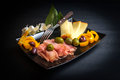 Sliced Prosciutto, Cheese and Olives Royalty Free Stock Photo