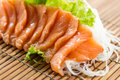Sliced raw fatty salmon sashimi Royalty Free Stock Photo