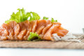 Sliced raw fatty salmon sashimi Stock Photos