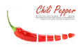Sliced red hot chili pepper on white background Royalty Free Stock Photography