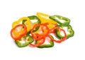 Sliced red yellow green bell pepper Royalty Free Stock Photo