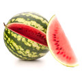 Sliced ripe watermelon isolated on white background cutout Stock Photos