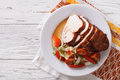 Sliced roasted turkey breast and fresh vegetables. Horizontal  t Royalty Free Stock Photo