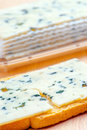 Sliced roquefort cheese over toast bread Stock Image