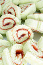 Sliced of roulade cake Stock Photos