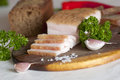 Sliced salted pork lard salo traditional ukrainian cuisine Stock Photography