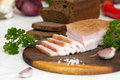 Sliced salted pork lard salo traditional ukrainian cuisine Stock Photos