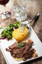Sliced sirloin steak Stock Images