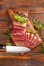 Sliced smoked pork meat Royalty Free Stock Photo