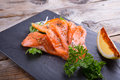 Sliced smoked salmon Royalty Free Stock Photo