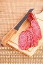 Sliced  smoked sausage salami Stock Photography