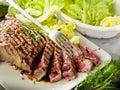 Sliced steak with  salad Stock Image