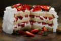 Sliced strawberry cake Royalty Free Stock Photo