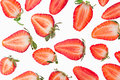Sliced strawberry. Slices. Strawberry pattern. Macro. Texture. Royalty Free Stock Photo