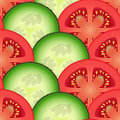 Sliced tomato and cucumber vegetables design seamless colorful pattern vector art eps Stock Photography