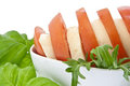 Sliced tomato / mozzarella and fresh basil Royalty Free Stock Photos