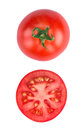 Sliced tomatoe isolated on white background top view Royalty Free Stock Photo