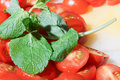 Sliced tomatoes with basil pile of cocktail garnished Royalty Free Stock Photo