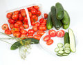 Sliced Tomatoes and Cucumber on a Plate Royalty Free Stock Image