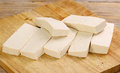 Sliced uncooked tofu slices of on a wooden board Stock Photos