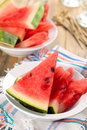 Sliced watermelon in plate. Royalty Free Stock Photo