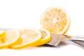 Sliced yellow lemon  on white background Royalty Free Stock Photo