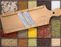 Slicer and spice old wooden lots of various spices Royalty Free Stock Photo
