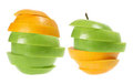 Slices of Apple and Oranges Stock Image
