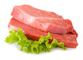 Slices beef and lettuce on white background Stock Image