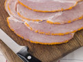 Slices of Boiled Breadcrumbed Ham Royalty Free Stock Photos