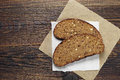 Slices of bread with dried fruit and seed Royalty Free Stock Photo