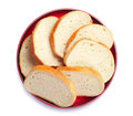 Slices bread in red plate Stock Images