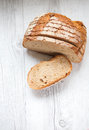 Slices of bread rustic on table Royalty Free Stock Photo