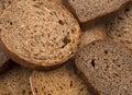Slices of dark rye bread delicious on white background sliced rye Stock Photo
