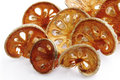 Slices of dried bael fruit Stock Photos