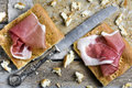 Slices of Focaccia Bread with Parma Ham Royalty Free Stock Photos