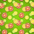 Slices of fresh citrus fruits on green polka dot funny background vector illustration for your healthy design seamless Stock Photo