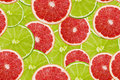 Slices of fresh lime and grapefruit seamless pattern Royalty Free Stock Photo