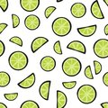Slices fresh lime on white background pattern Royalty Free Stock Photo