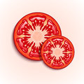 Slices of fresh tomato illustration large and small Royalty Free Stock Photography