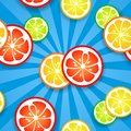 Slices of funny fresh citrus fruits on blue beams background vector illustration for your healthy design seamless endless Royalty Free Stock Photography