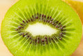 Slices of green kiwi the Stock Image